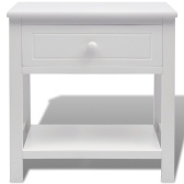 Bedside table white wooden