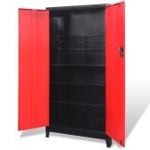 ツールキャビネット2ドアスチール90x40x180 cm黒と赤
