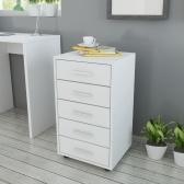 Caisson à tiroirs avec roues blanches à 5 tiroirs