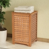 Solid Walnut Wood Laundry Basket 39x39x65 cm