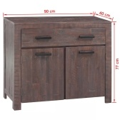 Solid wood sideboard in Acacia Industriale 90x40x77 cm