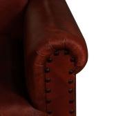 Sillón en cuero marrón genuino