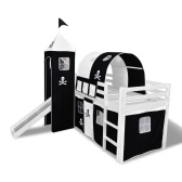 Loft Bed for Children with Slide and Staircase in Black and White Wood