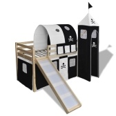 Bunk Bed for Children with Slide and Staircase in Black and White Wood