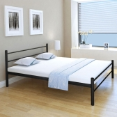 Double Bed with Black Metal Mattress 160x200 cm