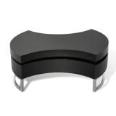 Coffee table glossy black adjustable shape