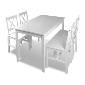 1 set wooden table and 4 chairs Colour White