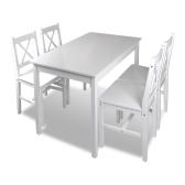 1 ensemble Table en bois + 4 chaises Couleur Blanc