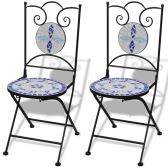 Mosaic Bistro Chair Blue / White Set of 2