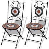 Mosaic Bistro Chair Terracotta / White Set of 2