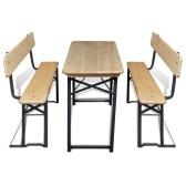 Tienda de cerveza con mesa y 2 bancos de abeto de 118 cm Plegable