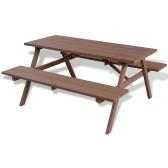 tavolo da picnic  WPC con panchine 150x139x72,5 cm Brown