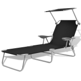 Outdoor Sun Lounger with Canopy Black Steel 58x189x27 cm