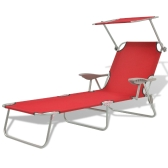 Outdoor Sun Lounger with Canopy Red Steel 58x189x27 cm