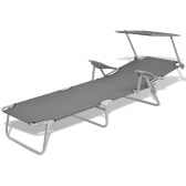 Outdoor Sun Lounger with Canopy Grey Steel 58x189x27 cm