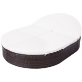 Double sun lounger with poly rattan cover 200x140x28 cm Brown