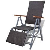 Rattan Garden Furniture Chair Brown Aluminium Frame Footrest