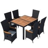 13 Stück Outdoor Esszimmer Set schwarz Poly Rattan Acacia Holz XXL