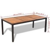 Nine Piece Set de salle à manger en plein air Poly Rattan Acacia Table Top