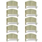 Set 10 pz Palizzata recinzione giardino in legno 55 cm design ad arco