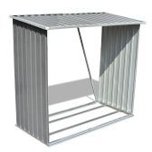 Log Storage Shed Galvanised Steel Grey