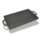 XL lèchefrite réversible en fonte pour barbecue et pizzas