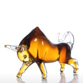 Tooarts Cattle jaune Sculpture en verre Home Decor animal Ornement Cadeau Artisanat Décoration