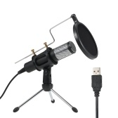 Professional Condenser Microphone USB Home Studio Recording Microphone with Mini Mic Stand Dual-layer Acousticfilter