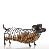 Tooarts Dachshund Wine Cork Container Iron Craft Animal Ornamento de regalo, Marrón, 13.8 * 4.7 * 5.9inches
