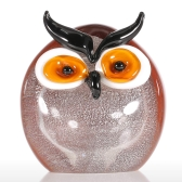 Tooarts Chubby Owl Glass Ornament Animal Figurine Handblown Home Decor
