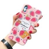 Weiche TPU-Telefonhülle mit niedlichem Cartoon-Design Ganzkörper-Anti-Rutsch-Handyhülle Pinky Strawberry Little Bear Rückendeckel Stoßstange Stoßfeste Hülle für das iPhone