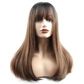 20 дюймов парик волос длинные прямые шелковистые синтетические термостойкие волосы парики для женщин