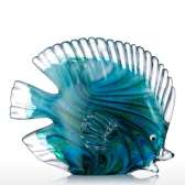 Blue Tropical Fish Glass Sculpture Home Decoration Glass Fish