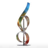 Tooarts Square and Ribbon Modern Sculpture Abstract Sculpture Metal Sculpture