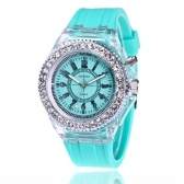 Foreign trade explosion models Geneva luminous watch fashion colorful LED flash watch silicone diamond diamond couple watch wholesale 爱心挂钩	Mint green love hook