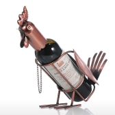 Tooarts Rooster Wine shelf Metal Practical sculpture Home decoration Crafts