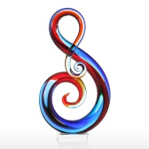 Tooarts Music Note verre Sculpture Home Decor Ornement Abstrait Cadeau Artisanat Décoration