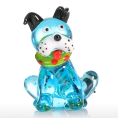 Tooarts Blue Squatting Dog Gift Glass Ornament Animal Figurine Handblown Home Decor