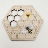 Festival de la abeja posavasos de madera cojín de aislamiento hueco vacaciones panal decoración artesanal posavasos x10pcs