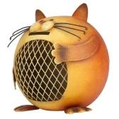 Tooarts Orange Cat Coin  Bank Animal Piggy Bank Iron