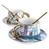 Tooarts Juego de taza y platillo de café Taza de té de cerámica Empaquetado de regalo Taza de pareja 304 Tazas de cuchara de acero para el personal de oficina o el hogar con dos juegos en una caja