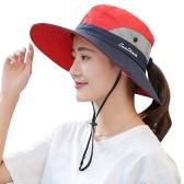 Femmes chapeau de soleil Protection UV large bord queue de cheval trou léger réglable pêche en plein air randonnée voyage casquette