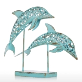 Two Blue Dolphins Iron Handmade Statue Design Statue Ornament Marine Life Retro Effect