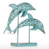 Deux dauphins bleu fer Statue fait main Statue Design ornement Retro Marine Life Retro Effect