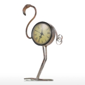 Flamingo Clock Handmade Vintage Metal Flamingo Figurine Mute Table Clock