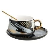 Tooarts Juego de taza y platillo de café Taza de té de cerámica Embalaje de regalo 304 Tazas de cuchara de acero para la oficina o el hogar con 4 colores
