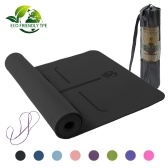 Non-slip TPE Yoga Mats Tasteless Pilates Gym Exercise Sport Living Room Pads for Fitness Body Building with Position Line with Carrying Strap & Bag 183 * 61 * 0.6cm