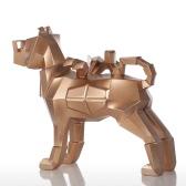 Tomfeel Gläser Hund Goldharz Skulptur Wohnkultur Moderne Kunst Figurine Tier-Statue Fiberglas