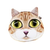 Mujeres lindas gato moneda monedero cartera impresión Animal Mini felpa cremallera caso moneda bolsa