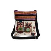 Femmes Mini Sac bandoulière Owl Broderie Jacquard Zipper sangle réglable Lumière Messenger Voyage épaule extérieure Sac